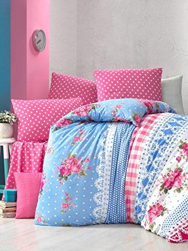 Aminata – Verspielte Bettwäsche Blumen Landhausstil 135×200 cm Baumwolle + Polyester + Reißverschluss - 4