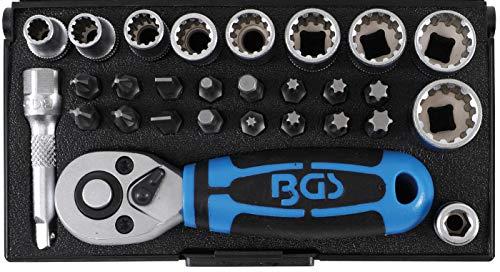 """BGS 2143 , Steckschlüssel-Satz , Antrieb 6,3 mm (1/4\"""") , inkl. Hartschalen-Kassette , 28-tlg."""