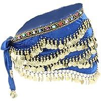 IPOTCH Bufanda de Cadera de Danza de Vientre con Borlas de Monedas Falda para Baile Rendimiento Escenario - Azul Real