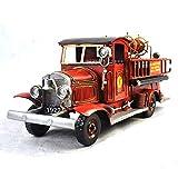 VJUKUB Antique 1928 Red Wheat Jinci Pilshi Fire Truck 1:24-Fine Version Modell Tinplate Hand Made Retro Iron Art Home Car Decoration Decoration Arrangement Props 42 * 15 * 18cm