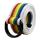 Maikun Herren Gürtel Gr. Taillenumfang 91,44 cm-99,06 cm, Rainbow+Black Ring