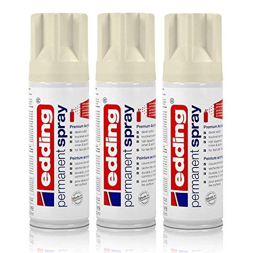 3x edding Permanent Spray cremeweiß matt 200 ml Premium Acryllack, RAL 9001