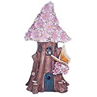 FHFY Garden Solar Powered Illuminated Fairy House/Dwelling Garden Ornament in a Tree Trunk with Pink Flowers and Butterfly ...