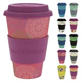 ebos Glücksbringer Coffee-to-Go-Becher aus Bambus | Kaffee-Becher | wiederverwendbar, natürliche Materialien, umweltfreundlich, lebensmittelecht, spülmaschinengeeignet (Mandala Spirit pink)