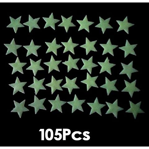Gleader 105 Piezas de Pegatina Calcomania de Pared Luminoso Fluorescente Brillante en Oscuridad Forma de