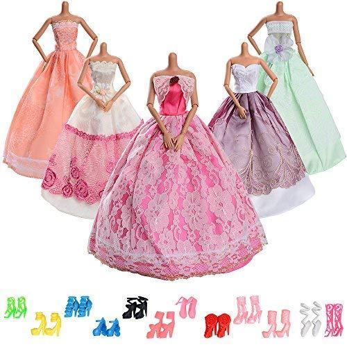 Asiv 5 pezzi moda vestito da principessa,12 paia di scarpe abiti festa di matrimonio per bambola barbie