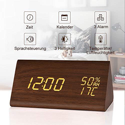 fomobest LED Wecker Wiederaufladbar Holz Tischuhr Klein Standuhr Datum/Temperatur/Feuchtigkeit Anzeige Digital Wecker Walnuß