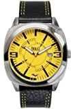 Everlast 33-219 Men's Quartz Watch with Yellow Dial Analogue Display and Black Leather Strap EV-219-004