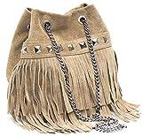 Dannii Matthews Bolso de mano de piel italiana de alta calidad con flecos y correa de cadena y tachuelas, color Beige, talla Small