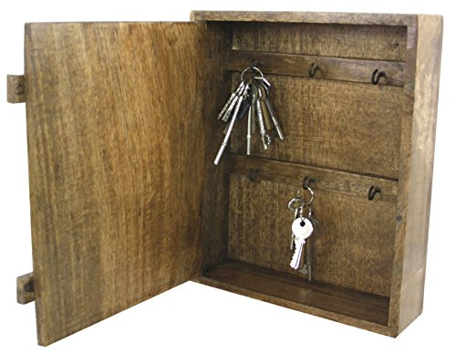 Polished Natural Wooden Wall Mounted Key Cabinet with 6 Hooks