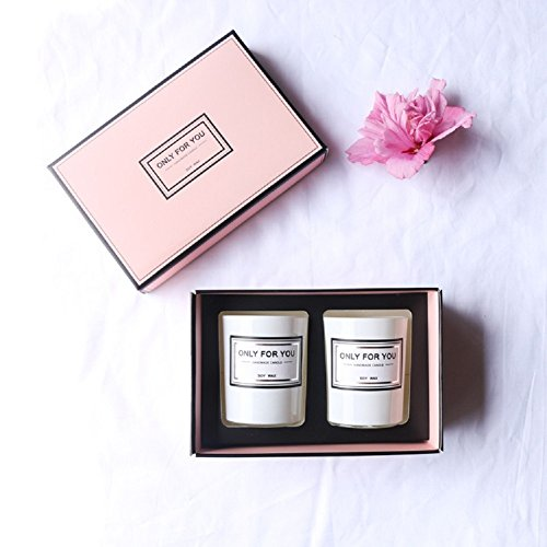 VIOQ Kerze Romantische Kerze Tasse Mädchen Geburtstag Kreative Soja Wachs Duft Holz Cover Set,Weiß,Einheitsgröße -