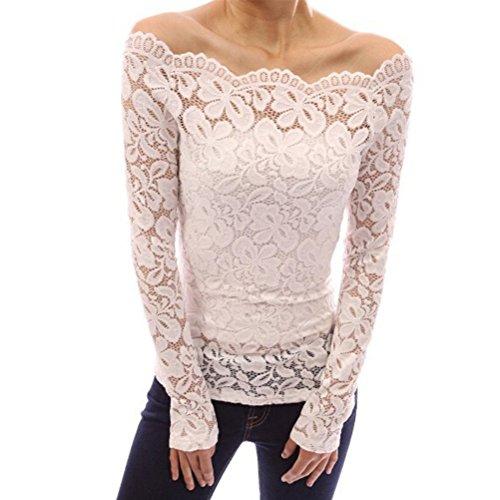 Femme T-shirt Manches Longues Sexy Dentelle Shirt Epaule Nue Slim Automne Hiver white