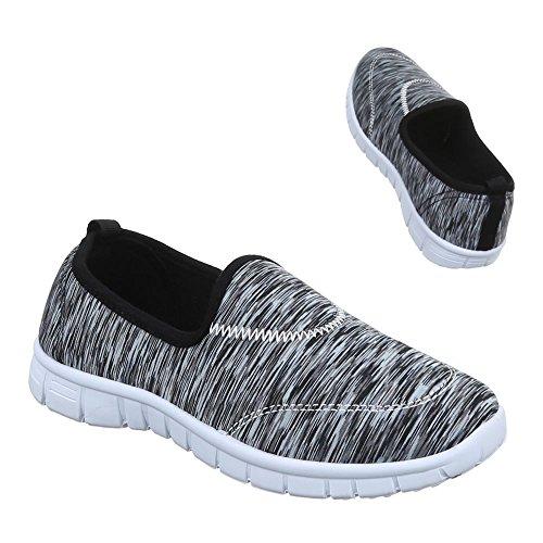 Damen Schuhe, C27-11, HALBSCHUHE SLIPPER FREIZEITSCHUHE Schwarz Grau