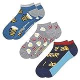 soxo Herren 3 Paar Bunte Sneaker Socken | Größe 40-45 | Witzige Motivsocken aus Baumwolle (Bier, Eier & Speck, Burger & Pommes)