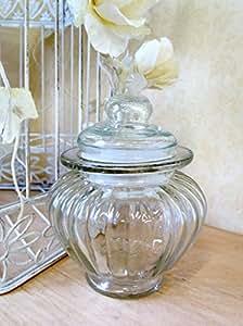 Petite ronde en verre strié Jar Ampoule Forme bonbon sucré Pot style vintage de stockage de conteneurs