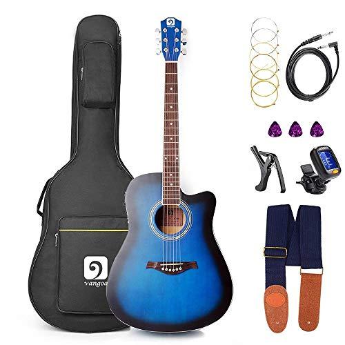 Vangoa Elektro Akustik Gitarre, 41 Zoll Elektroakustische Gitarre 4 Band EQ Volle Größe Akustikgitarre für Anfänger Cutaway Guitar Set mit Gig Bag, Ersatzsaiten, Blau
