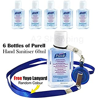6 x Purell Hygenic Hand Sanitizer Gel / Rub 60ml Personal Pump Bottles Used by Hospitals