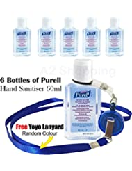 6 x Purell Hygenic Hand Sanitizer Gel / Rub 60ml Personal Flip Cap Bottles Used by Hospitals