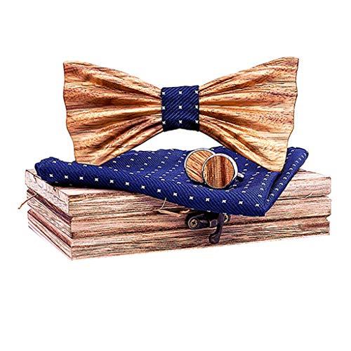 Fenverk 4 Stück Holzfliege Göteborg aus verschiedenen Hölzern mit wechselbarem Stoff Handgefertigt Trendartikel Mascherl Schleife Querbinder (Rote Schleife Brille)