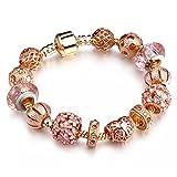 Rose Gold Snake Charm Armband europäischen Murano Glas Kristall Perlen 20cm für Pandora Charms