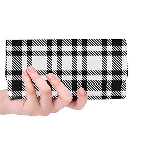 Einzigartige benutzerdefinierte schwarz weiß Tartan Frauen Trifold Wallet Lange Geldbörse Kreditkarteninhaber Fall Handtasche -