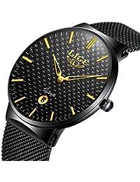 Relojes para Hombre Cuarzo Minimalista Delgado Reloj de Hombres Marca LIGE Elegante Negocios Retro Relojes Negro