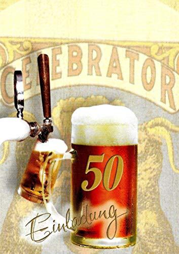 Einladungskarten 50. Geburtstag Frau Mann mit Innentext Motiv Bier 10 Klappkarten DIN A6 im Hochformat mit weißen Umschlägen im Set Geburtstagskarten Einladung 50 Geburtstag Mann Frau K249