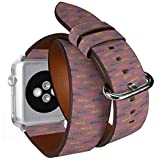 Compatibile con Big Apple Watch 42 mm e 44 mm Double Tour, cinturino in pelle con adattatori in acciaio (biciclette Tandem Beautiful).