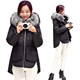 iHAIPI - Winter Damen neue dicke Daunenjacke großen Haar Kragen langen Absatz warme Baumwolle Mantel Jacke Übergangsjacke Leichte Größe M-2XL (M, Schwarz)
