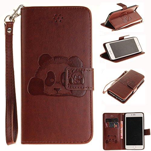 Ooboom® iPhone 5SE Hülle Prägen 3D Panda Muster Flip PU Leder Handy Tasche Case Cover Stand Magnetverschluss für iPhone 5SE - Kaffee Kaffee