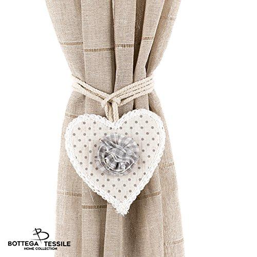 Fermatende libby con decorazione in stoffa a forma di cuore in stile country chic. fantasia pois , colore panna