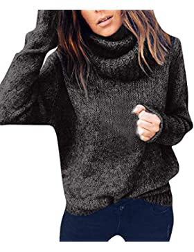 DAYLIN Jersey de Cuello Alto, Mujeres Otoño Manga Larga Color Sólido Suelto Prendas de Punto