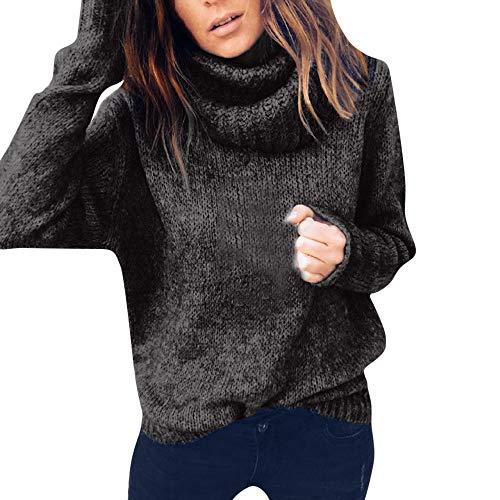 Damen Pullover Sweater MYMYG Frauen Solid Langarm Rollkragenpullover Strickpullover Jumper Pullover Top Bluse(Schwarz,EU:34/CN-S)