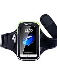 [Armtasche] FREEOO Sport Armband mit sensibelem Touchscreen Wasser-und Schweißabweisende Smartphone Armtasche mit 3 Kopfhörerauslassen passt alle Handys unter 6 Zoll mit Hülle wie Iphone 6s/6 Plus Galaxy S6 Sport Accessoire für Joggen Radsport Wandern und Fitness