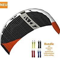 HQ Dragon Symphony Beach III 2.2 Carbon Racer Bundle Stunt Kite Traction Kite Steering Mat incl. Padded Control Straps