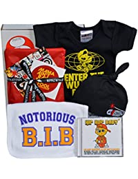 Wu Tang Clan Baby Gift Box. Enter The Wu Tang Pram baby grow, Notorious BIB, Hip Hop CD & Baby black beanie hat. For babies aged 0-6 months