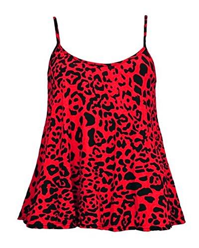 Glamour Babe Damen Top, Animalprint Gr. XX-Large, Rot - Red-Leopard (Scoop Neck Top Deep)