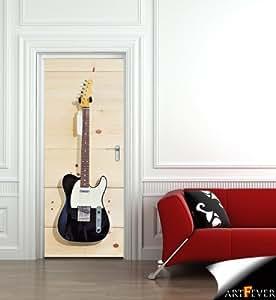 DS40 - Telecaster guitare en forme de sticker, autocollant illusion , la peau de la porte. Peler et bâton Photo porte autocollant Scène