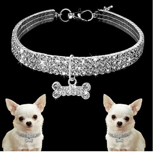 Gamloious Bling Strass Hundehalsband Alloy Diamant-Welpen-Haustier-Katze-Kragen-Größe S/M/L Halsbänder für kleine Hunde Mascotas Zubehör Weiß S -