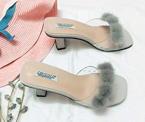 Beauqueen Pantofole popolari di cerimonia nuziale Decorazione artificiale della piuma Metà degli orecchini centrali del piede delle donne femminili del piede femminile Prime Day Size EU 35-39 Grey