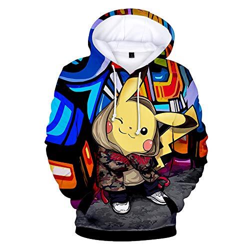 XJXDWY 3D Sport Hoodie Lässige Pullover Unisex Bewegung Phantasie Kostüm Digitaldruck Pokemon Pikachu L