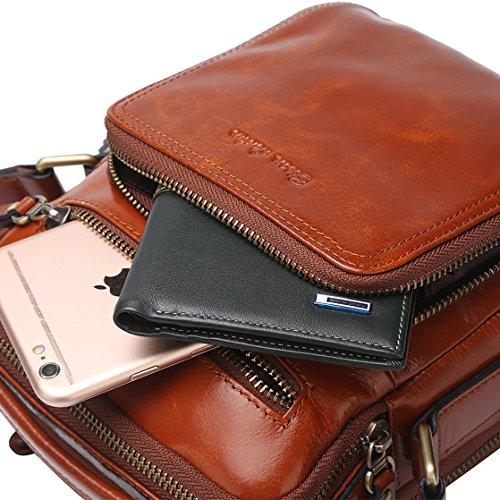 BISON DENIM Herren Leder Schultertasche Reisetasche Kleine Umhängetasche Handtaschen Braun/N2333-1ZS