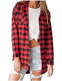 Ansenesna-blouses Chemisier Femme Manche Longue Blouse Coton Col Chemise  T-Shirt à Carreaux 1339ee3e2d25