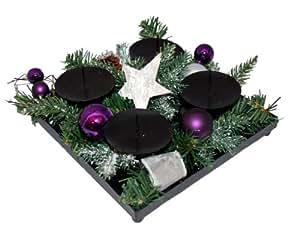 heitmann brauns 81450 kerzenhalter aus metall adventskranz stern lila silber. Black Bedroom Furniture Sets. Home Design Ideas