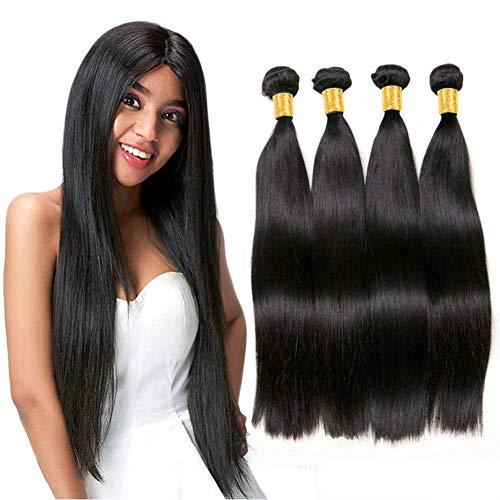 Extensiones de cabello humano natural 100% real,los pelo humano longitud, cabello humano liso natural negro (14 16 18 20)