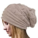 YWLINK Damen Einfarbig Winter Hut HäKeln Wollknit Beanie Warme Kappen Pfahlkappe WollmüTze(Freie Größe,Beige)