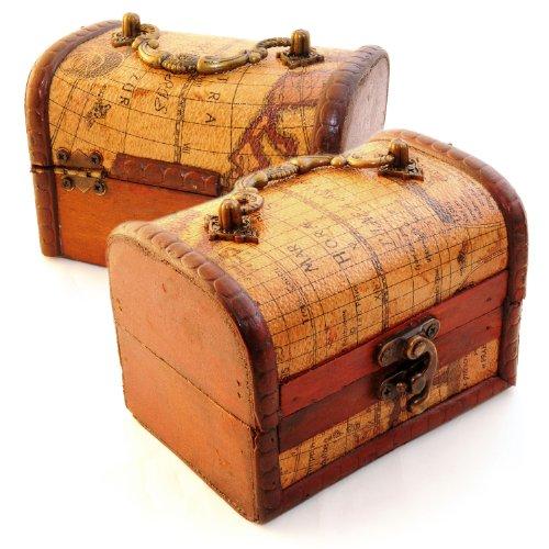 2er SET Schatztruhe zur Dekoration (Antik) mit Lederüberzug im Landkarten Stil, Schatulle aus Holz zur Aufbewahrung von schmuck & Kleinteilen - Marke Ganzoo -