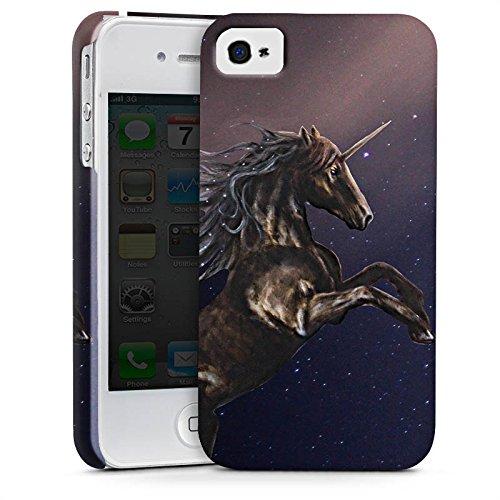 Apple iPhone X Silikon Hülle Case Schutzhülle Einhorn Unicorn Schwarz Pferd Premium Case glänzend