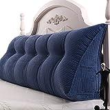 Lendenkissen Weiche Lordosenstütze zum Lesen, Rückenlehnenkissen für Bett/Sofa, blaues dreieckiges Keilkissen mit Tasche, Abnehmbarer Bezug (größe : 60×21×45cm)