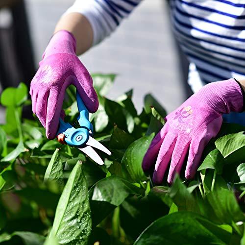 guanti da lavoro e giardinaggio con rivestimento in lattice 7//S,Viola /& Verde /& Rosa,RB6013 Vgo multifunzione edile 3 paia guanti da giardino donna